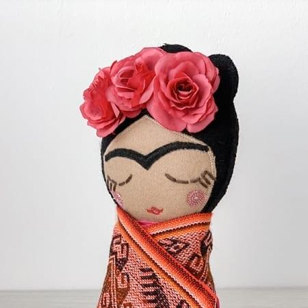 frida doll handmade in Ireland rag doll red roses