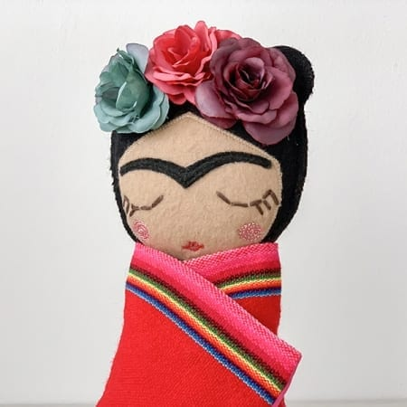 frida doll mexican rag doll handmade in Ireland colourful flowers