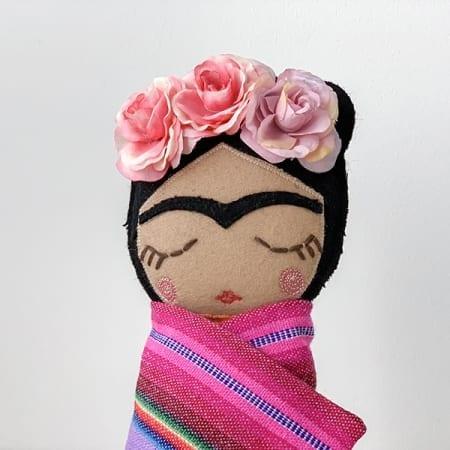 frida Kahlo doll handmade in Ireland pink flowers