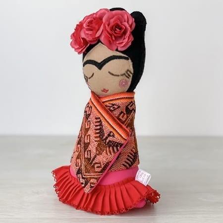 frida doll mexican rag doll handmade in Ireland red flowers