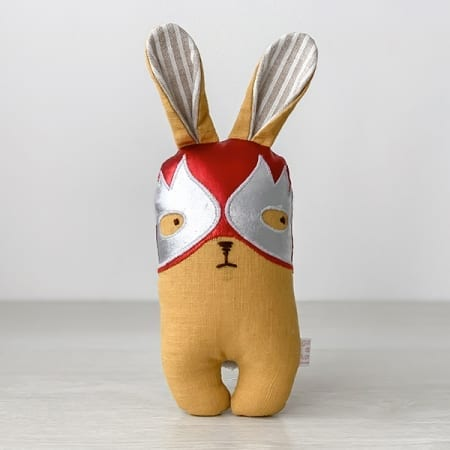 lucha libre soft toy handmade in Ireland wrestler bunny