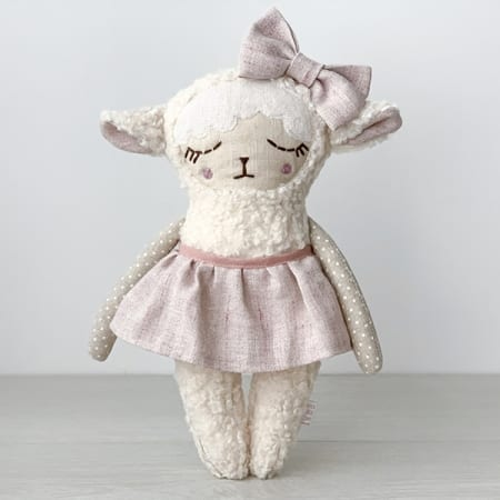 personalised doll handcrafted in Ireland heirloom rag doll cute lamb bow
