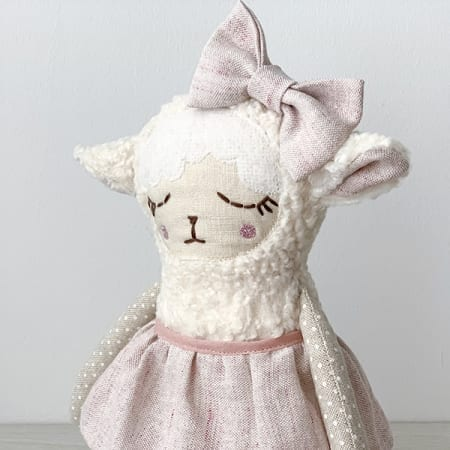 cute handmade lamb Irish handmade linen doll clothes