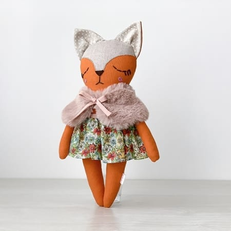 fox doll with clothes handmade in Ireland liberty london skirt