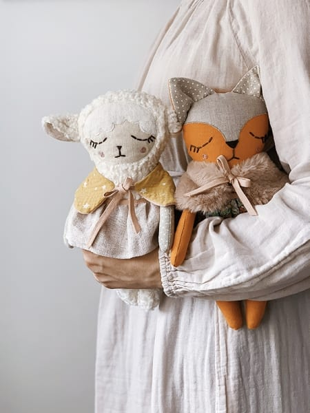 fox lamb doll with clothes handmade in Ireland cotton linen faux fur
