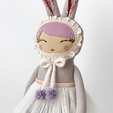 Bunny Girl rag doll heirloom pretty ballerina rabbit