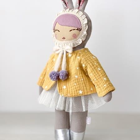 bunny Girl ballerina rag doll yellow gauze jacket tutu pretty bunny