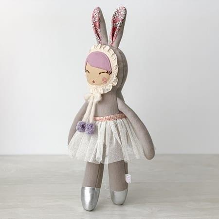 personalised doll handcrafted in Ireland heirloom bunny ballerina pretty rag doll