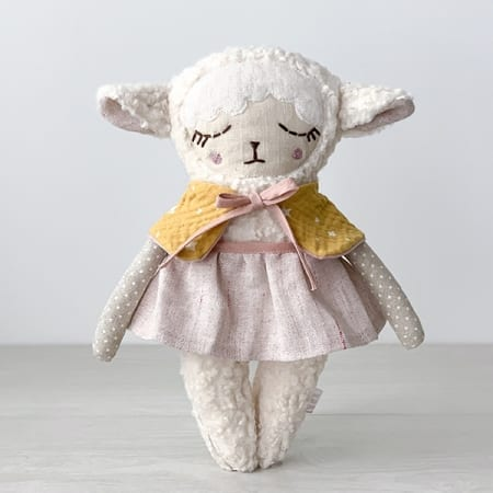 personalised doll handcrafted in Ireland heirloom pretty lamb doll
