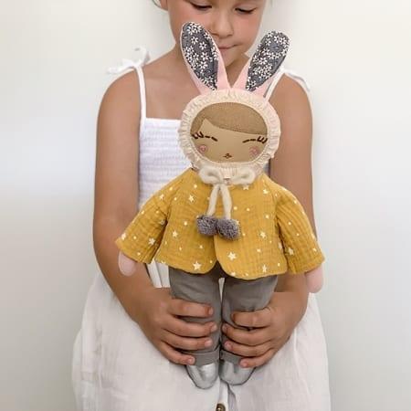 mini doll clothes handmade in Ireland pretty bunny doll