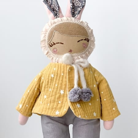 bunny Girl rag doll dungaree yellow jacket pretty bunny
