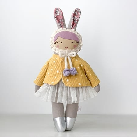 bunny Girl ballerina rag doll yellow jacket tutu pretty bunny