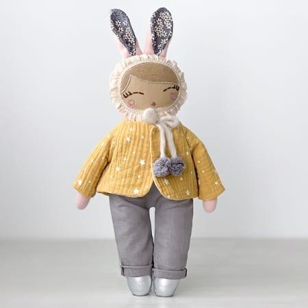 heirloom bunny Girl rag doll dungaree yellow jacket pretty bunny