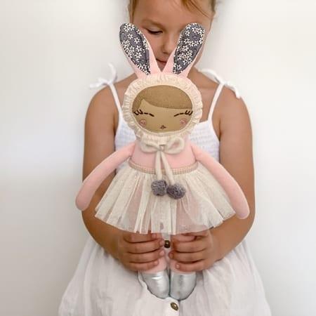 personalised doll handcrafted in Ireland heirloom bunny ballerina