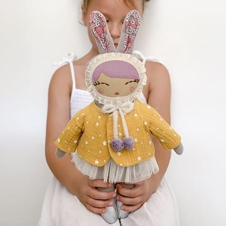 heirloom doll handmade in Ireland bunny girl pretty doll
