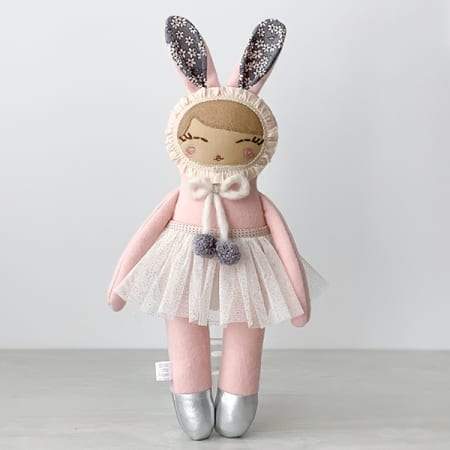 handmade bunny doll bunny girl natural farbrics handmade in Ireland