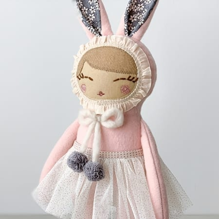 heirloom doll handmade bunny ballerina pink pink rag doll