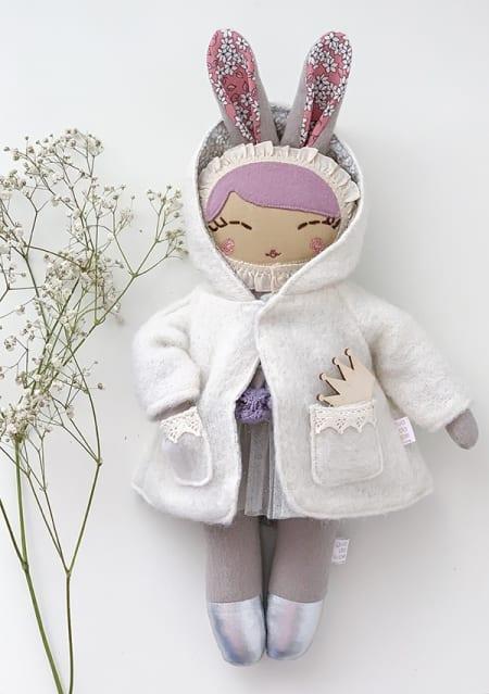 bunny girl winter coat ballerina doll handmade in Ireland