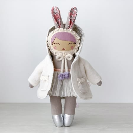 personalised doll handcrafted in Ireland heirloom bunny ballerina pretty rag doll