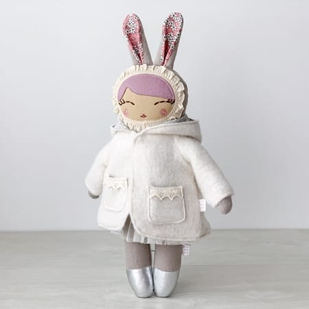 handmade heirloom bunny doll mini clothes Irish handmade
