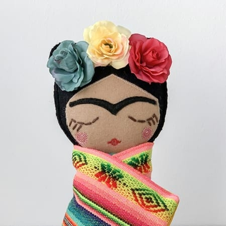 frida doll mexican rag doll handmade in Ireland colourful flowers