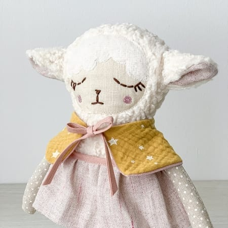 lamb rag doll furry doll pretty soft toy handmade in Ireland
