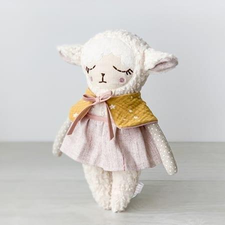 pretty lamb girl handmade in Ireland Heirloom doll bolero skirt