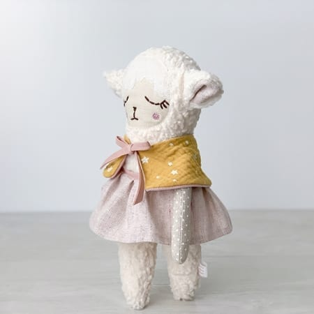 personalised doll handcrafted in Ireland heirloom bolero pretty lamb doll