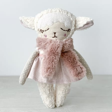 personalised doll handcrafted in Ireland heirloom faux fur scarf pretty lamb doll