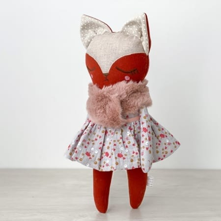 pretty fox doll handmade red fox handcrafted in Ireland floral doll dress