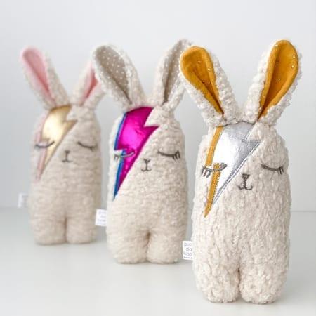 Ziggy bunny soft toy plushy Irish handmade Bowie bunny