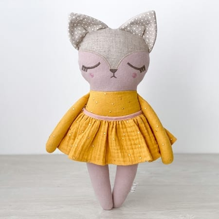 fox doll with clothes handmade in Ireland cotton yellow dress