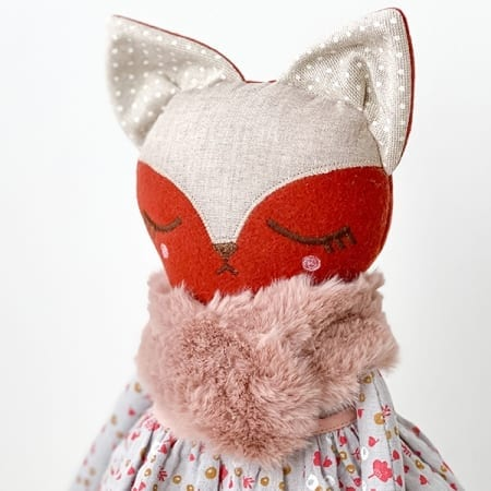 pretty fox doll handmade red fox handcrafted in Ireland