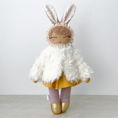 personalised rag doll handmade in Ireland heirloom doll faux fur doll coat
