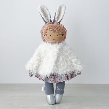 precious handmade doll personalised doll rag doll fur jacket