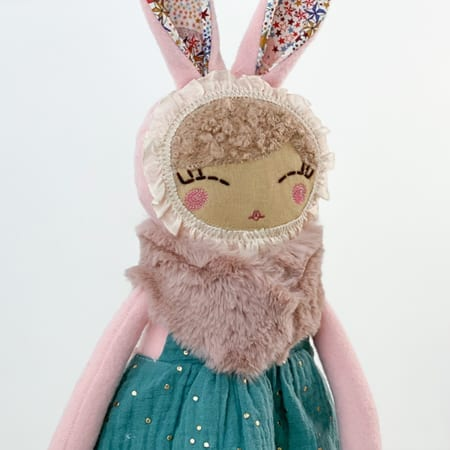 pink bunny doll mini clothes handcrafted in Ireland pink faux fur