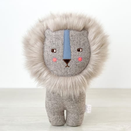grey lion handmade in Dublin Soft Lion funky soft toy