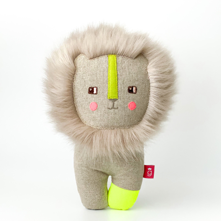 hairy lion soft toy handcrafted in Ireland neon